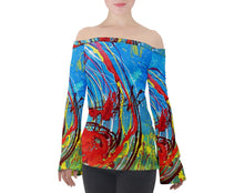 Off Shoulder Long Sleeve Top (Expressive Abstract)