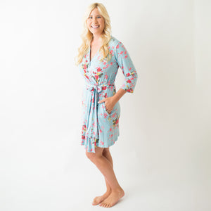 Cherry Blossom Teal Robe
