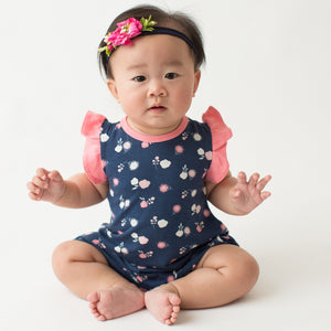 Navy Bloom Flutter Romper