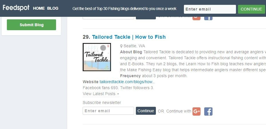 Tailored Tackle Make Fishing Easy Blog #29 on Feedspot's Top Fishing Blogs!