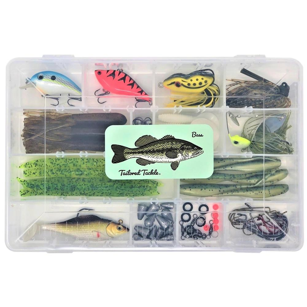Tailored Tackle Bass Fishing Tackle Kit Lures Spinnerbait Jigs Soft Bait Plastic Worms Hooks Swimbait Sinkers