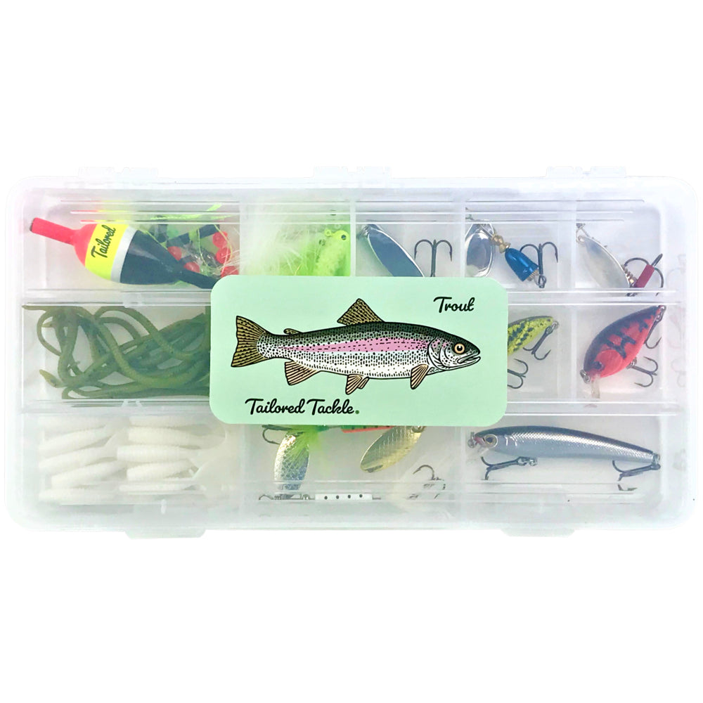 trout kit fishing tackle lures spoons spinners hooks bait bobbers tailored tackle
