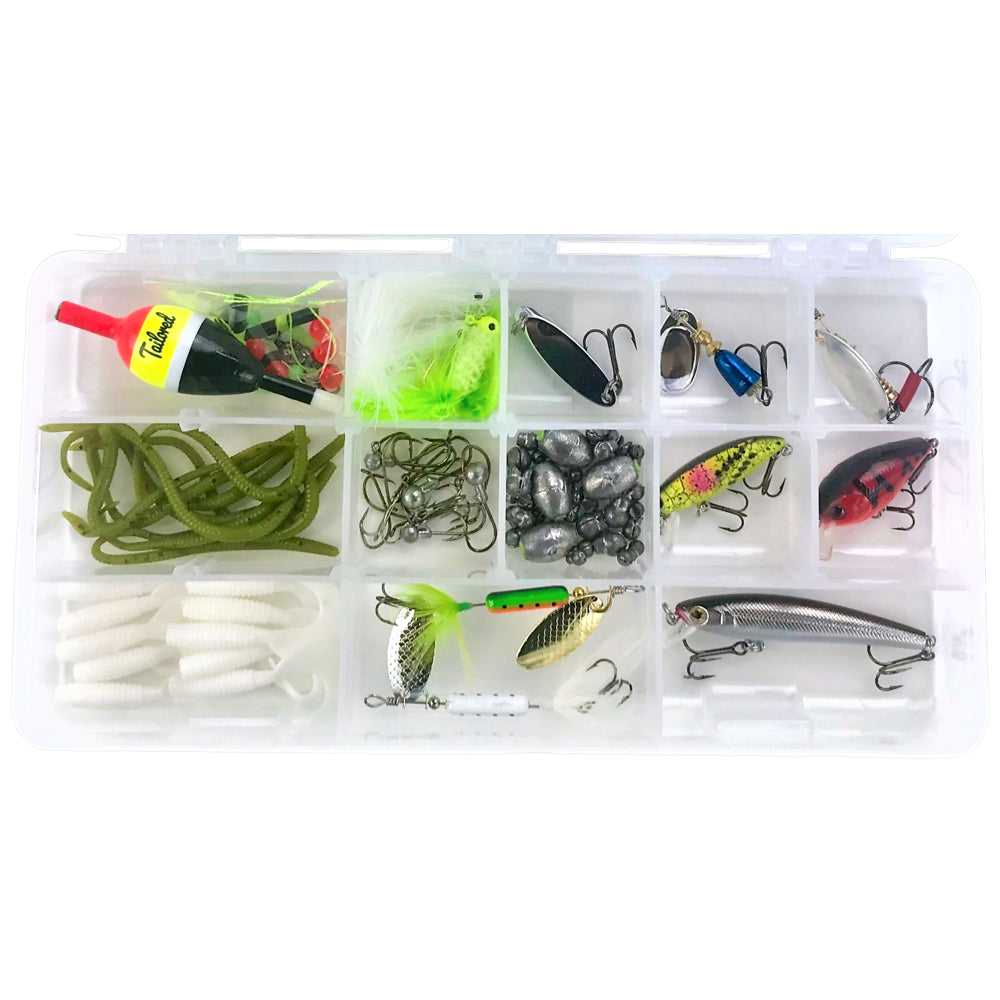 trout fishing kit tailored tackle lures spinners crankbaits hooks bobbers worms
