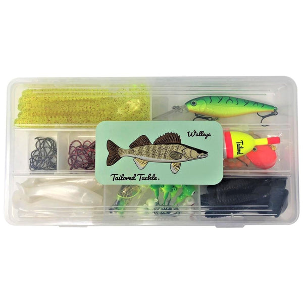 Walleye Fishing Tackle Kit 112 Pc. Lures Jigs Rigs Hooks Plastics