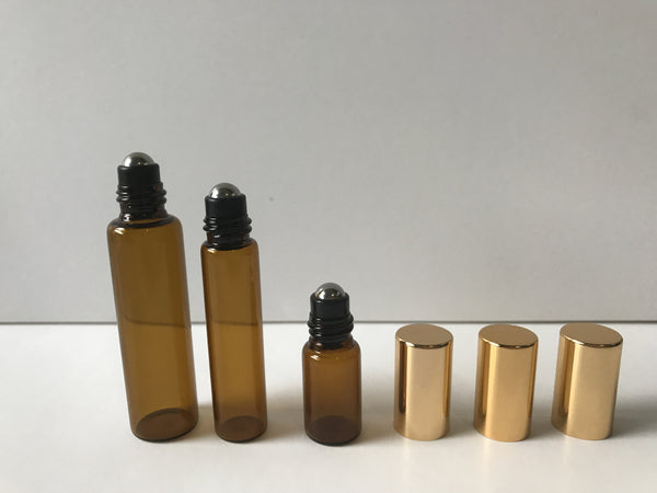 Amber glass essential oil roller bottle