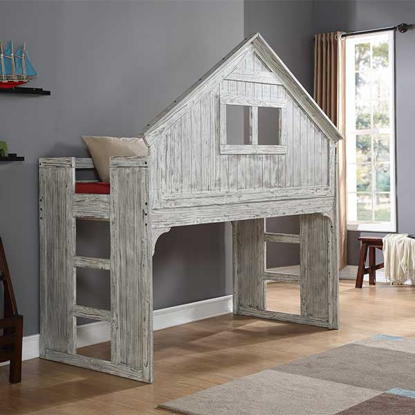 Club House Twin Loft Bed Play House with Driftwood Finish