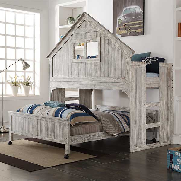 Club House Twin Over Full Loft Bed Play House with Driftwood Finish
