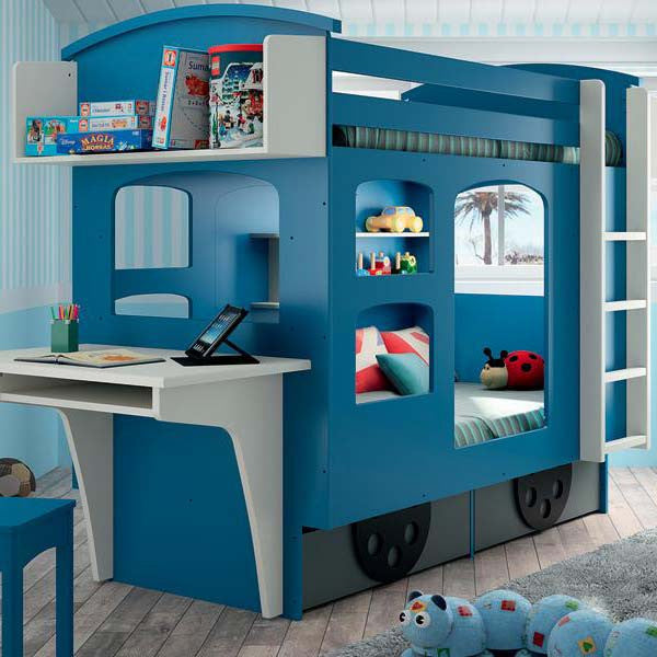 Wagon Kids Twin Loft Bunk Bed with Build-in Desk