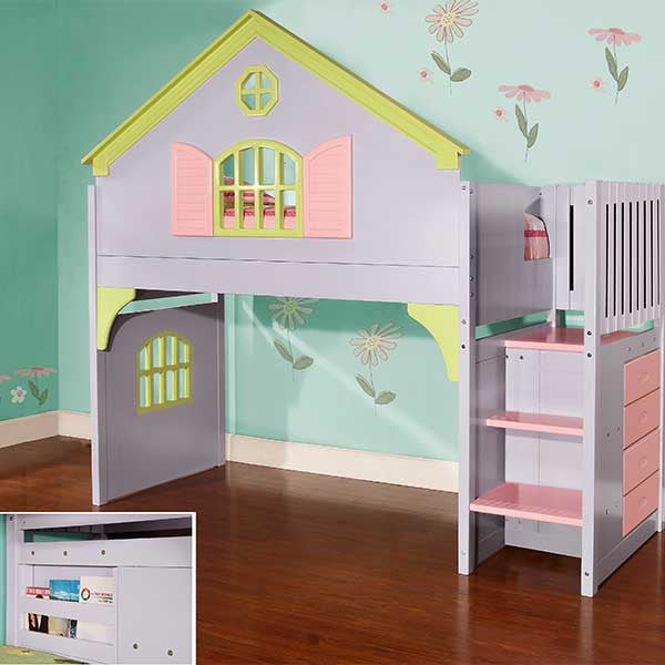 Princess Dollhouse Playhouse Loft Bed with Stairs - Loft Beds 4 Kids