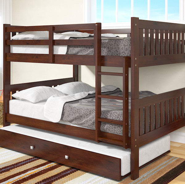 Dark Cappuccino Full Over Full Bunk Bed with Trundle Bed