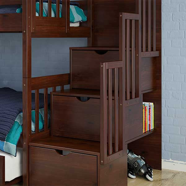 Mission Stairway Twin Over Twin Bunk Bed