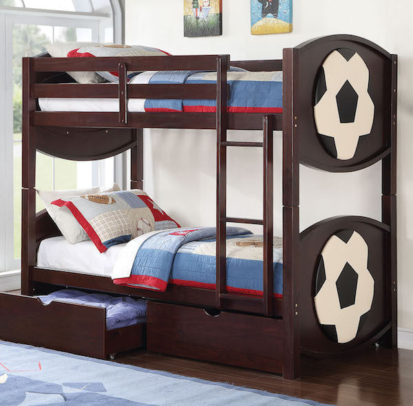All Star Soccer-Themed Twin over Twin Bunk Bed