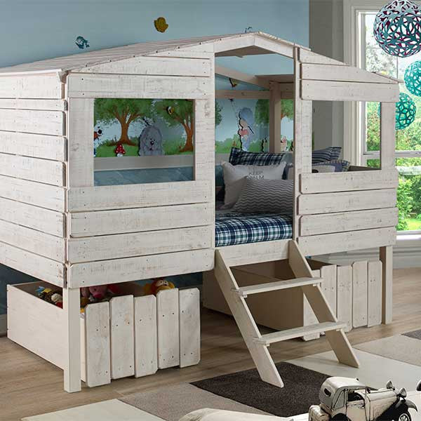 Tree House Twin Loft Bed with Storage Drawers - Loft Beds 4 Kids