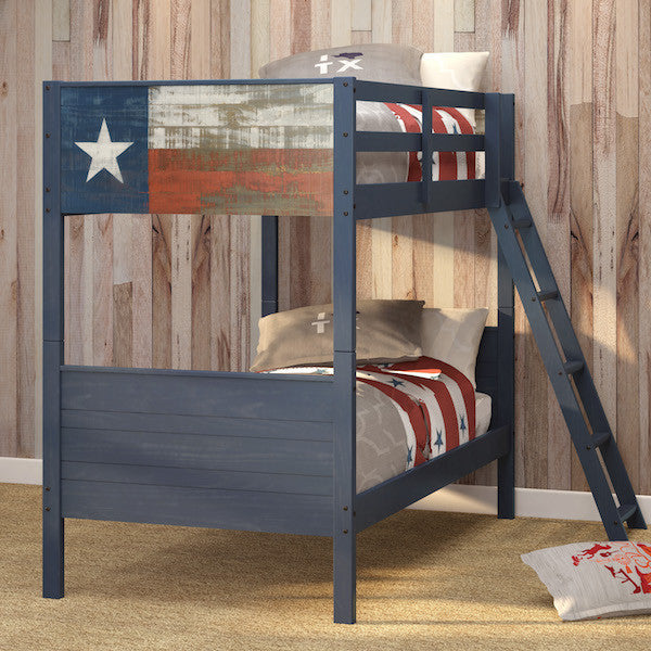 Lonestar Blue Pine Twin over Twin Bunk Bed