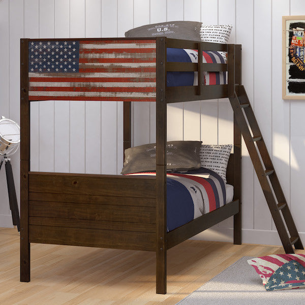 Patriot Brown Pine Wood Twin over Twin Bunk Bed