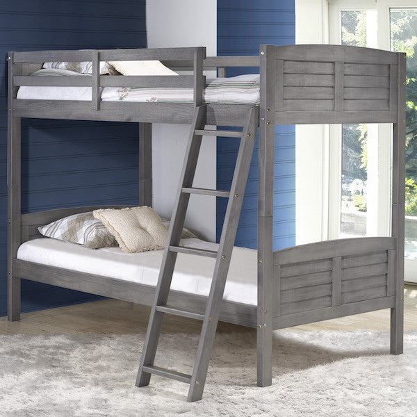 Tree House Twin over Twin Bunk Bed- Rustic Antique Grey