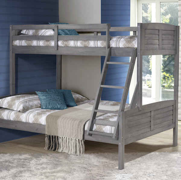Tree House Twin over Full Bunk Bed- Antique Grey
