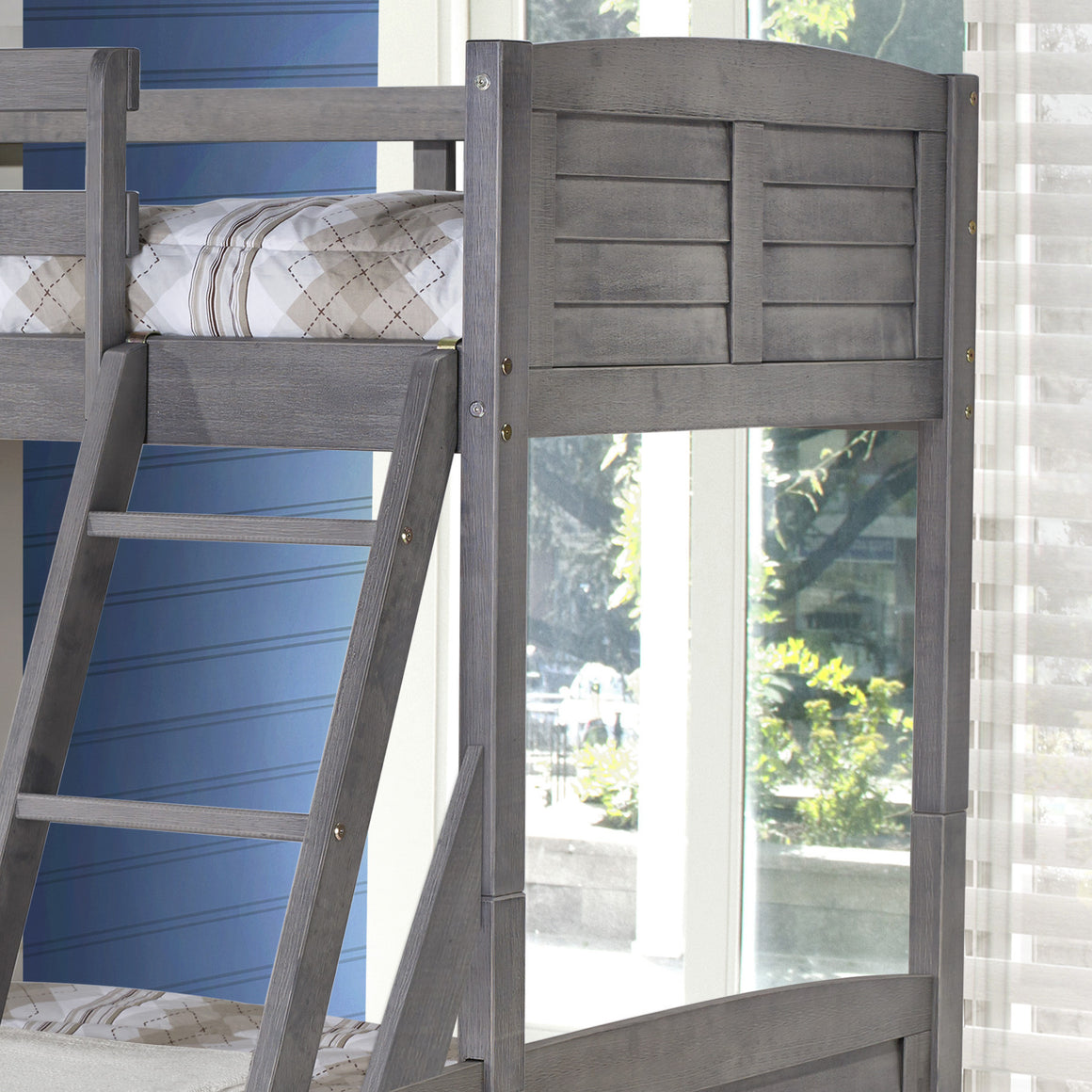 Tree House Twin over Twin Bunk Bed- Antique Grey