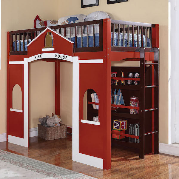 Fola Fire House Twin Loft Bed Built in Ladder Storage Bookcase Shelf