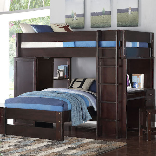 Lars Twin Loft Bed- Cappuccino Finish