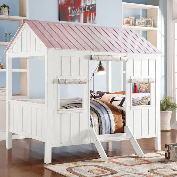 Spring Cottage Cabin Full Size Bed-Pink Roof Top