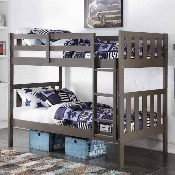 Wide Mission Twin Bunk Bed-Slate Grey - Loft Beds 4 Kids
