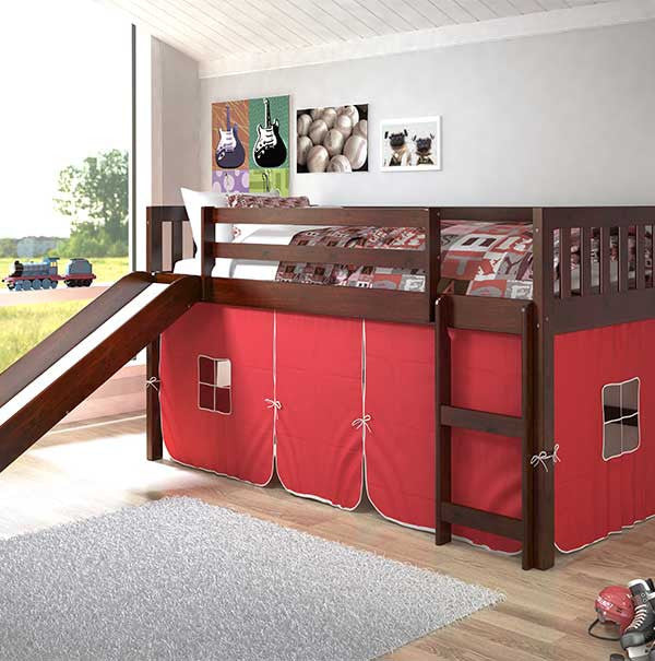 Mission Twin Low Loft Bed with Slide-Red tent