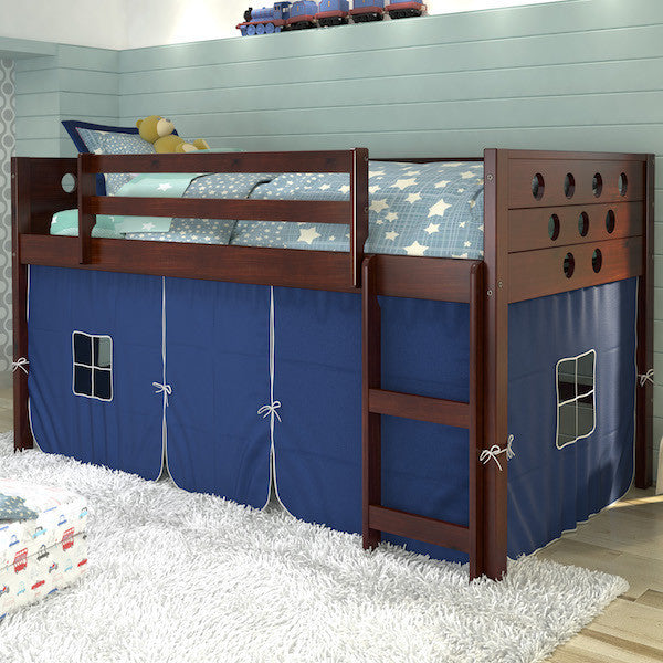 Circles Twin Loft Bed with Storage-Espresso Finish with Blue Tent