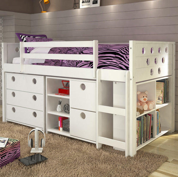 Circles Twin Loft Bed with Storage-White Finish