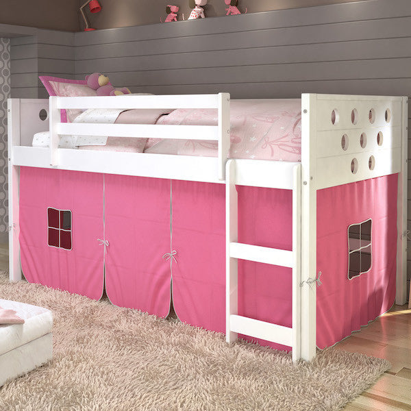 Circles Twin Loft Bed with Storage-White Finish with Pink Tent