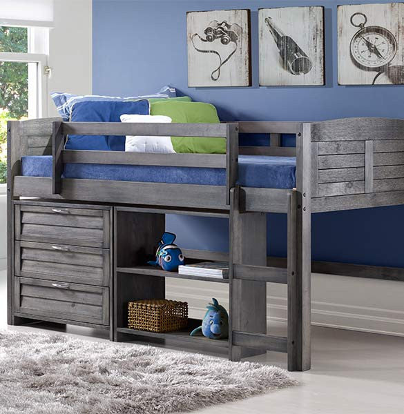 Louver Twin Low Loft Bed with 3Dr Dresser and Shelf - Loft Beds 4 Kids