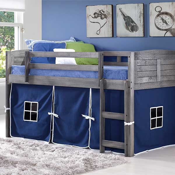 Louver Twin Low Loft Bed with Blue Tent Kit