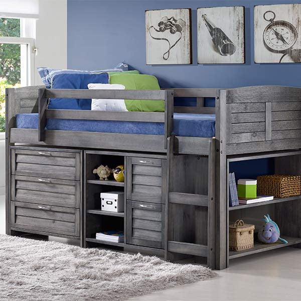 Louver Twin Low Loft Bed with Storage- 3 DR Chest+ 2 DR+Shelf