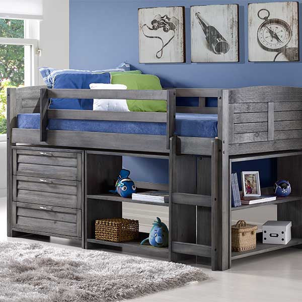 Louver Twin Low Loft Bed with Storage- 3 DR Chest and Shelf