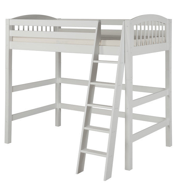 Arch Spindle Headboard Twin High Loft Bed-White Finish