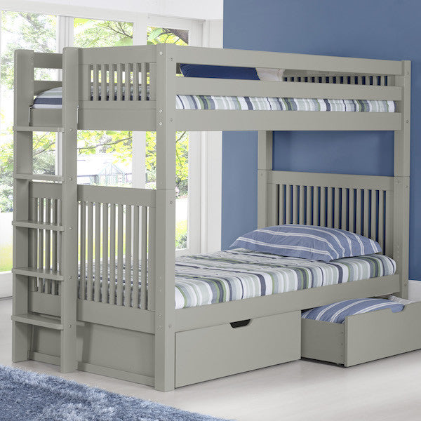 Mission Headboard Twin Bunk with Bed End Ladder-Grey