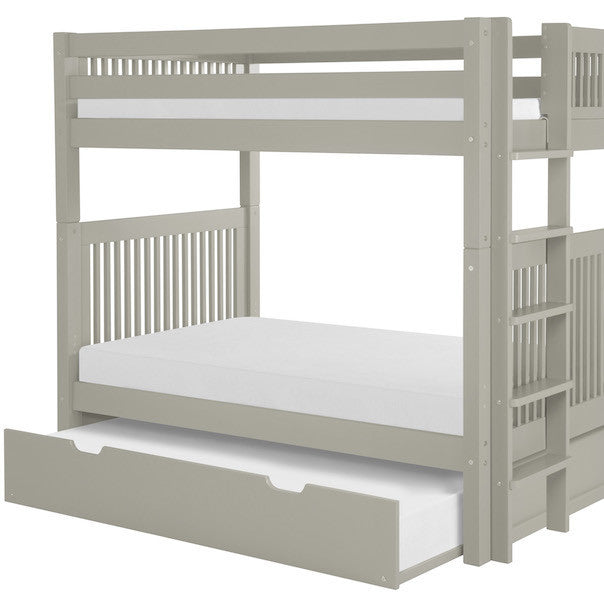 Mission Headboard Twin Bunk with Bed End Ladder and Trundle -Grey
