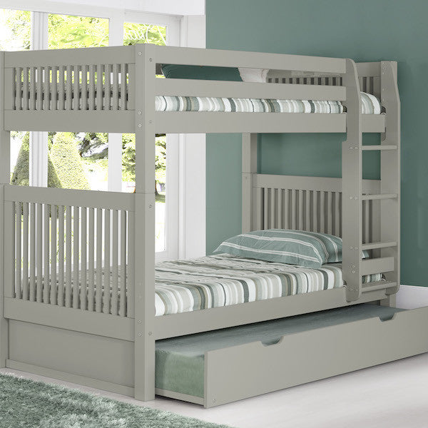 Mission Headboard Twin Bunk with Trundle -Grey - Loft Beds 4 Kids
