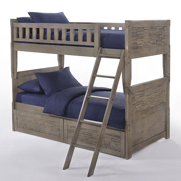 Dolphin Twin over Twin Bunk Bed with Drawers