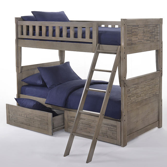 Dolphin Twin over Twin Bunk Bed with Drawers-Grey Wash Finish