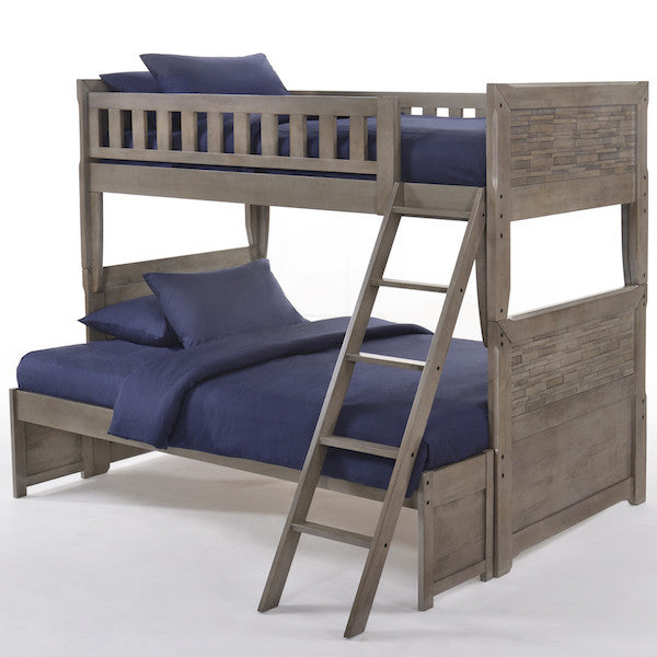 Dolphin Twin over Full Bunk Bed-Grey Wash Finish