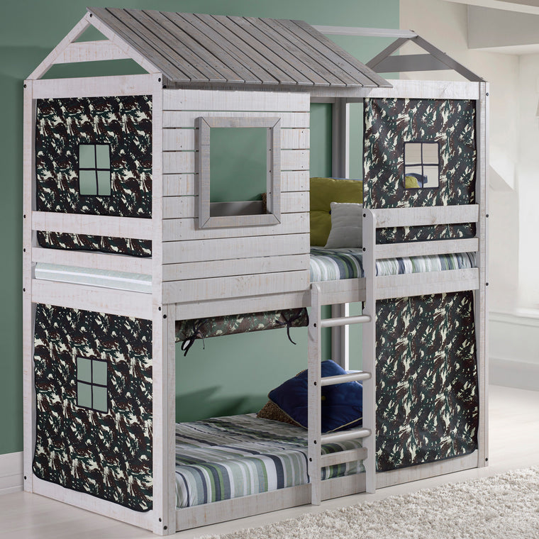 Deer Blind Twin Over Twin Bunk Bed with Camo Tent Kit