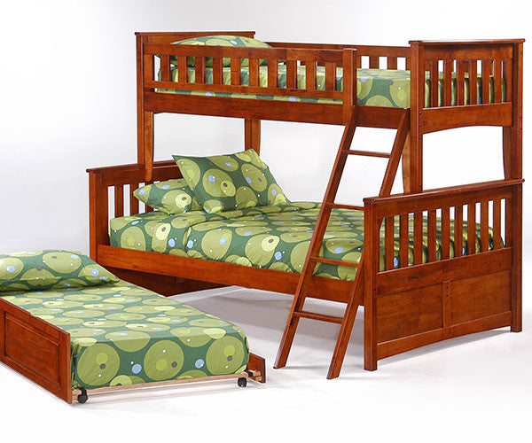Spices Ginger Twin over Full Bunk Bed w/ Trundle Bed - Loft Beds 4 Kids