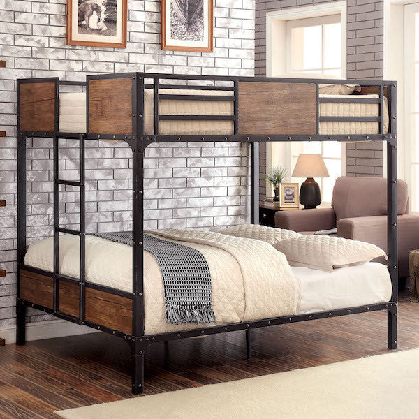 Relyn Wood Panel Industrial Metal Full over Full Bunk Bed