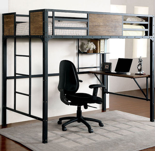 Relyn Wood Panel Industrial Metal Twin / Workstation Loft Bed