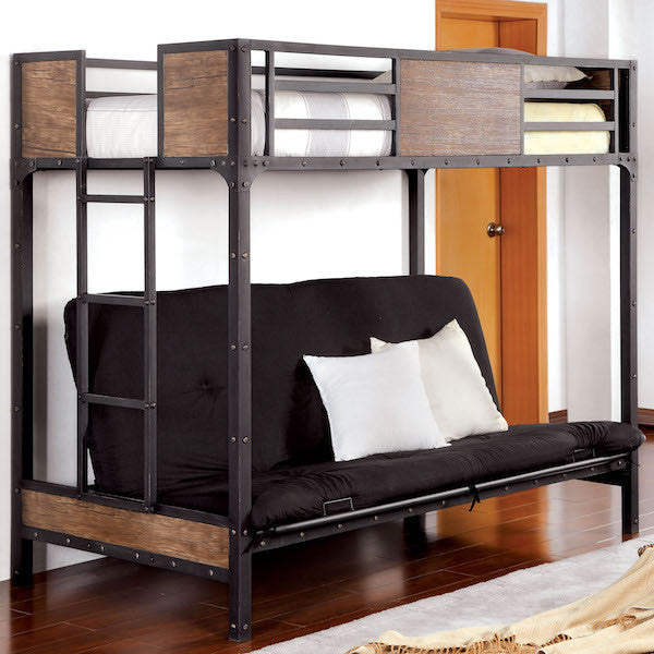 Relyn Wood Panel Industrial Metal Twin / Futon Loft Bed