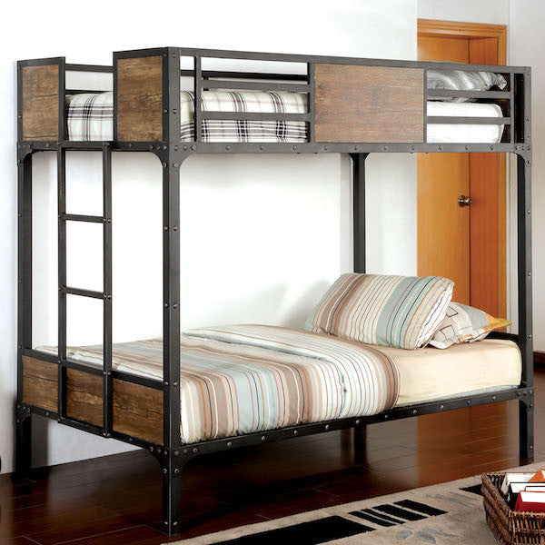 Relyn Wood Panel Industrial Metal Twin over Twin Bunk Bed