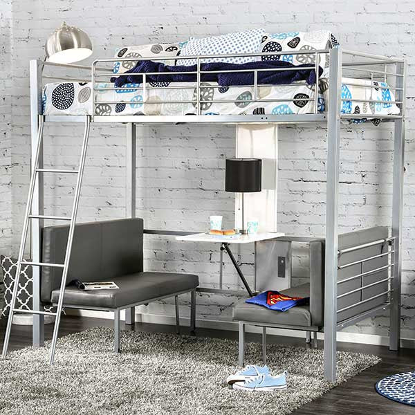 Mordan Convertible Twin/Workstation Loft Bed and Table-Silver - Loft Beds 4 Kids