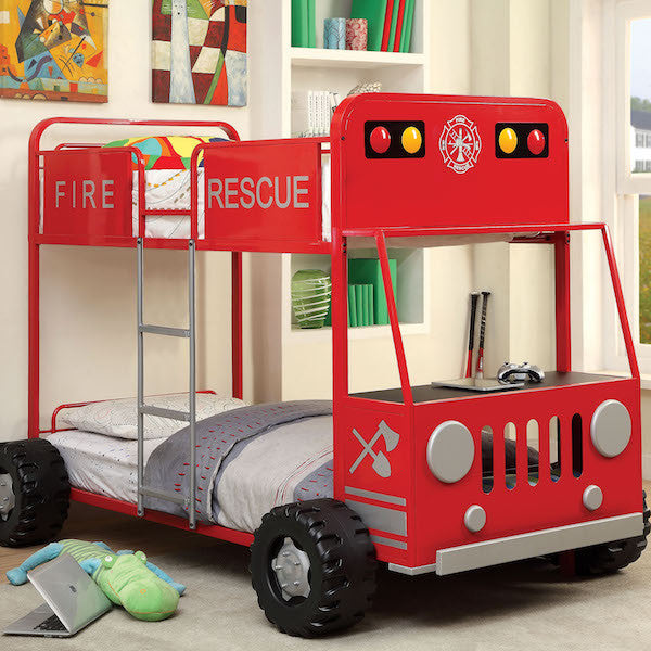 Fire Rescue Truck Twin Over Twin Bunk Bed