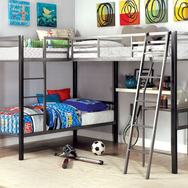 Contemporary Twin/Twin/Twin Bunk Bed with Workstation